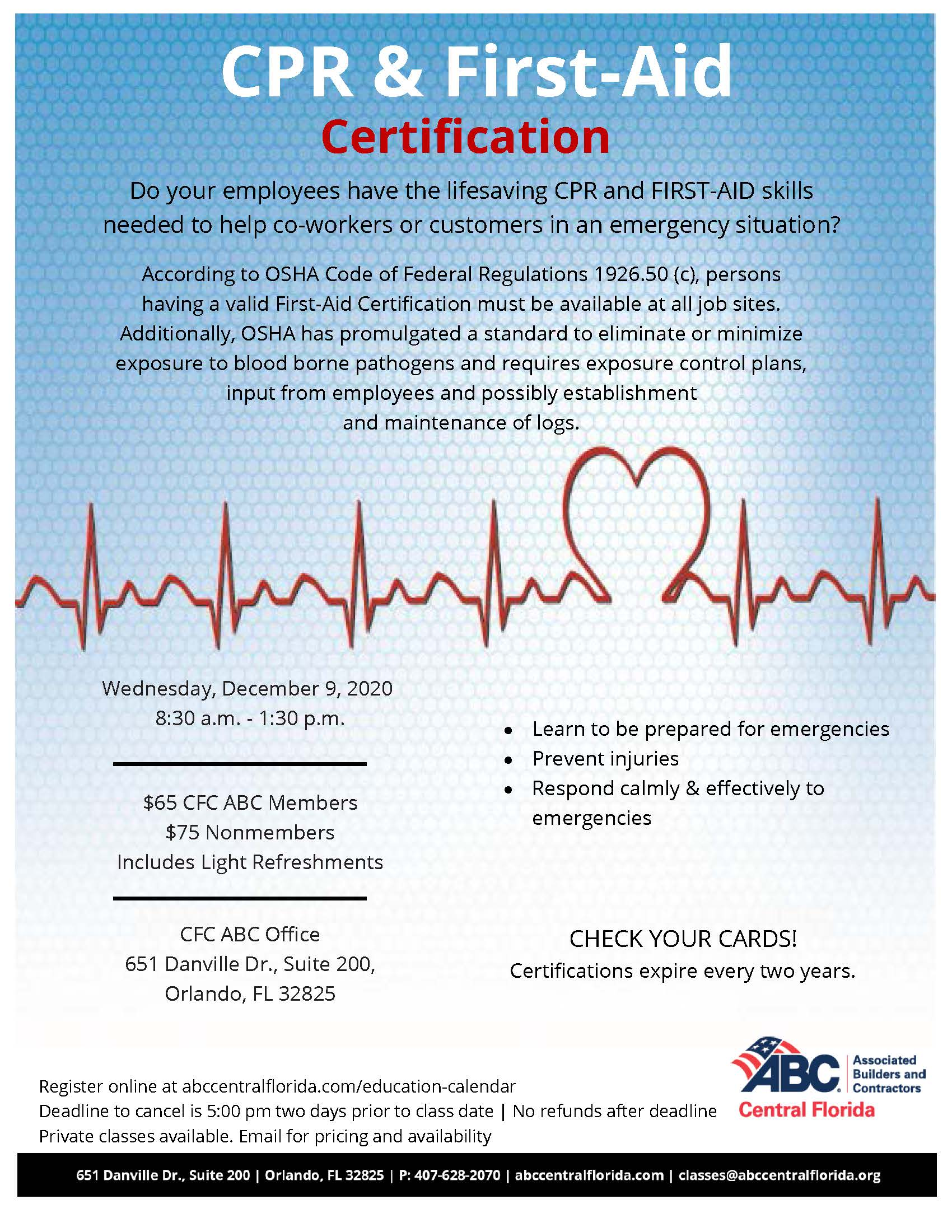 CPR & First Aid Certification - December 9, 2020